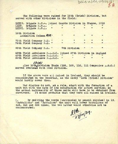 Document regarding soldier divisions
