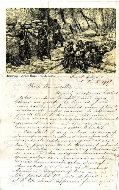 Letter DCLA/RDFA.01.08.017 from Belgian Soldier J. Verachtert to Monica Roberts