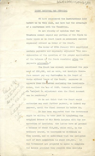 Document regarding the expenditure of funds by the War Memorial Committee