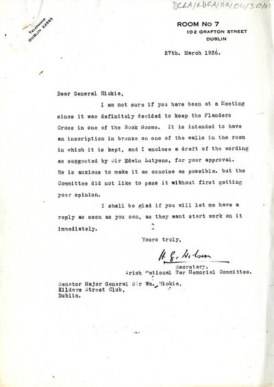 Two copies of a letter sent to General Hickie from H. G Wilson