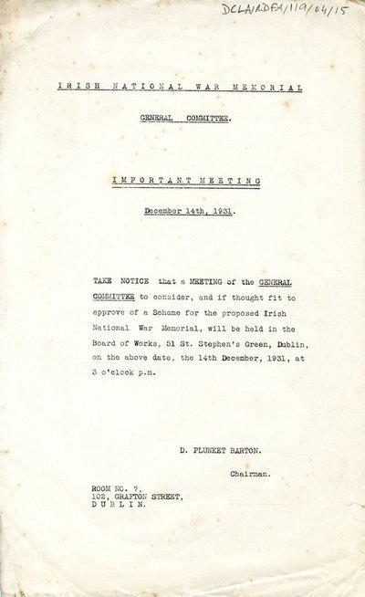 General Committee meeting notice