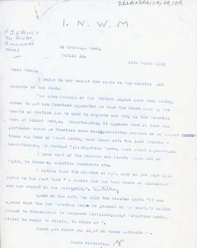 Letter from the Irish War Memorial to F.J. O' Reilly