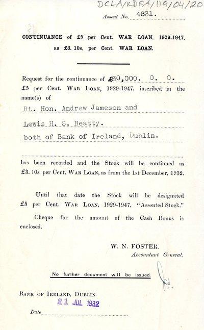 War Loan request, Bank of Ireland