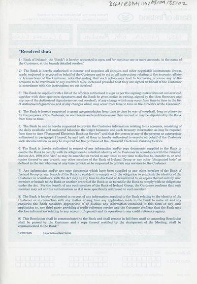 File regarding the Irish National War Memorial's accounts with Bank of Ireland