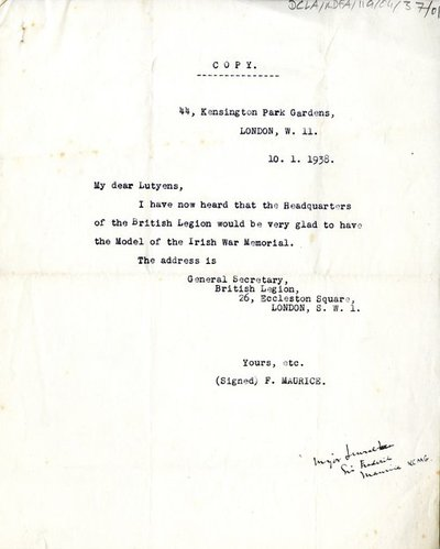 Letter and copy of a letter from F. Maurice to Sir Edwin Lutyens and from Sir Edwin Lutyens to The Right Honble, Andrew Jameson, D.L.