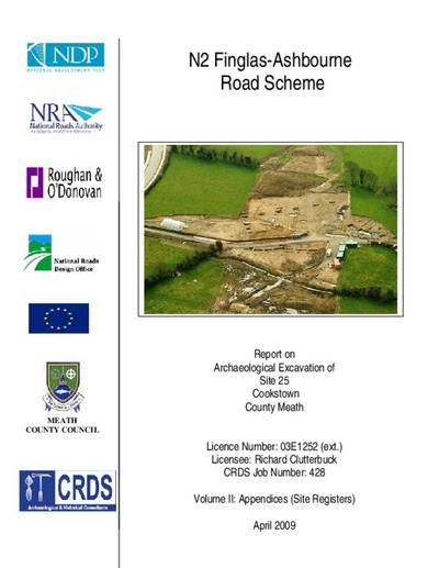 Archaeological excavation report,  03E1252 Cookstown Site 25 Vol 2, County Meath.