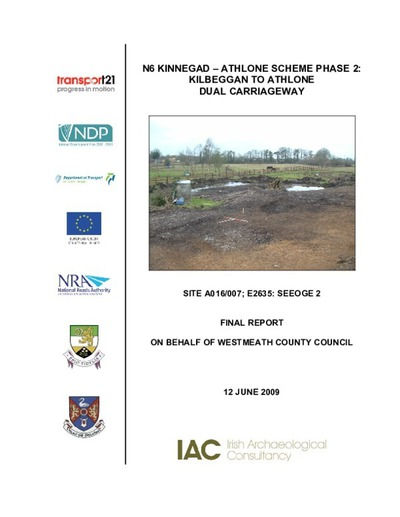 Archaeological excavation report,  E2635 Seeoge 2,  County Westmeath.