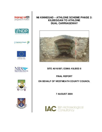 Archaeological excavation report,  E3966 Kilbeg 8,  County Westmeath.