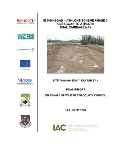 Archaeological excavation report,  E2647 Kilcurley 1,  County Offaly.