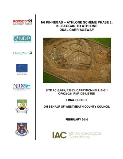 Archaeological excavation report,  E2653 Cappydonnell Big 1,  County Offaly.