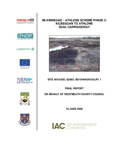 Archaeological excavation report,  E2663 Boyanaghcalry 1,  County Westmeath.