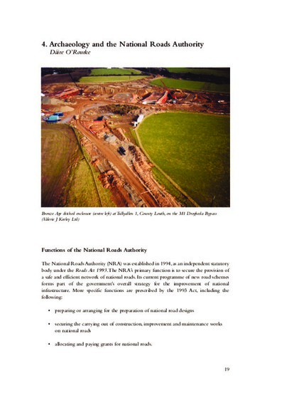 Archaeology and the National Roads Authority