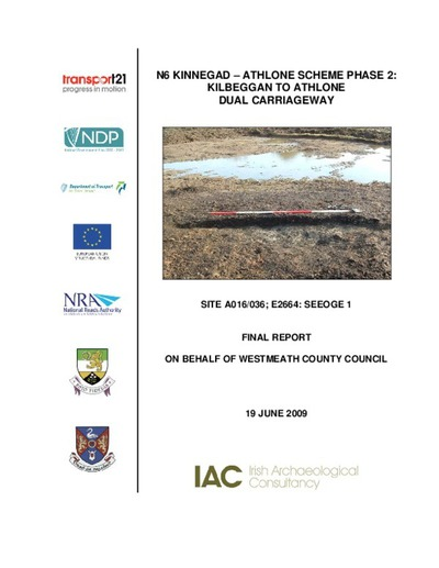 Archaeological excavation report,  E2664 Seeoge 1,  County Westmeath.