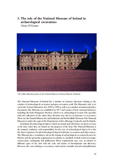The role of the National Museum of Ireland in archaeological excavations