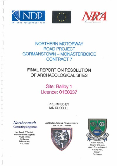 Archaeological excavation report, 01E0037 Balloy 1, County Meath.