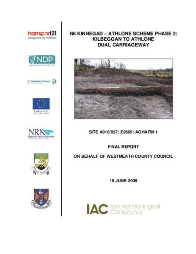 Archaeological excavation report,  E2665 Aghafin 1,  County Westmeath.