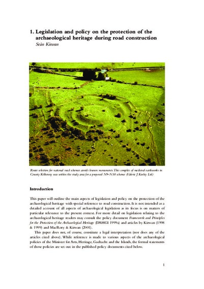 Legislation and policy on the protection of the archaeological heritage during road construction