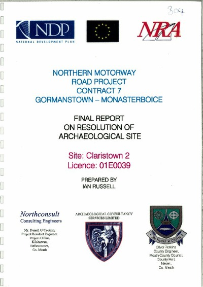 Archaeological excavation report, 01E0039 Claristown 2, County Meath.