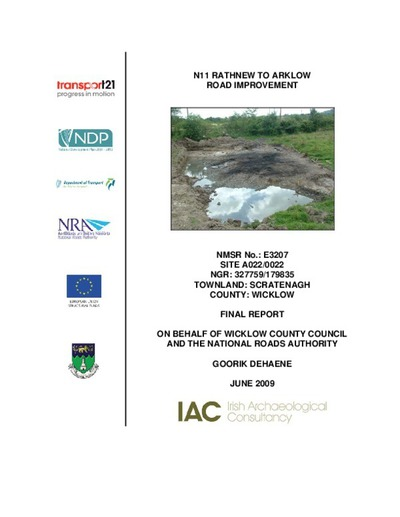 Archaeological excavation report,  E3207 Scratenagh A022-022,  County Wicklow.