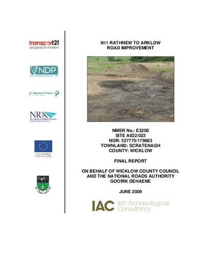 Archaeological excavation report,  E3208 Scratenagh A022-023,  County Wicklow.