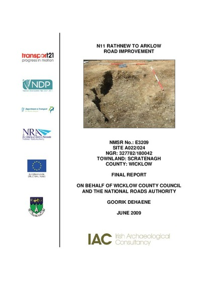 Archaeological excavation report,  E3209 Scratenagh A022-024,  County Wicklow.
