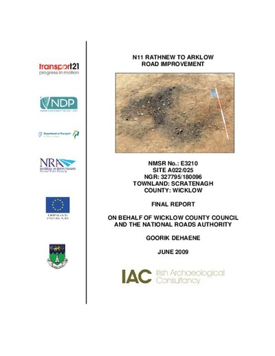 Archaeological excavation report,  E3210 Scratenagh A022-025,  County Wicklow.