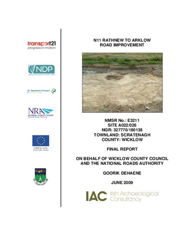 Archaeological excavation report,  E3211Scratenagh A022-026,  County Wicklow.