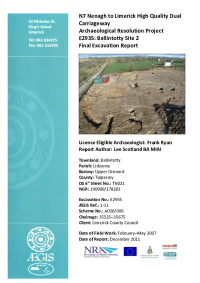 Archaeological excavation report,  E2935 Ballintotty Site 2,  County Tipperary.