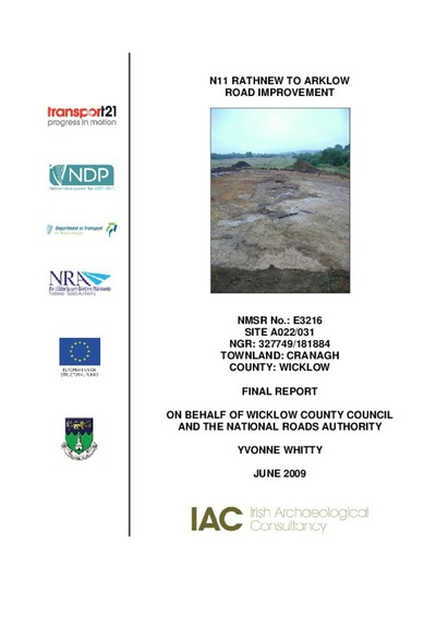Archaeological excavation report,  E3216 Cranagh A022-031,  County Wicklow.