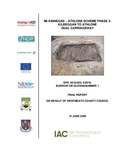 Archaeological excavation report,  E2678 Burrow or Glennanummer 1,  County Offaly.