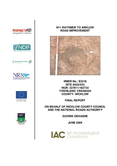 Archaeological excavation report,  E3218 Cranagh A022-033,  County Wicklow.