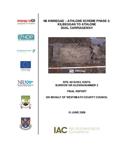 Archaeological excavation report,  E2679 Burrow or Glennanummer 2,  County Offaly.