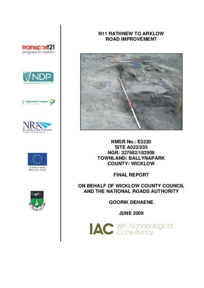 Archaeological excavation report,  E3220 Ballynapark A022-035,  County Wicklow.