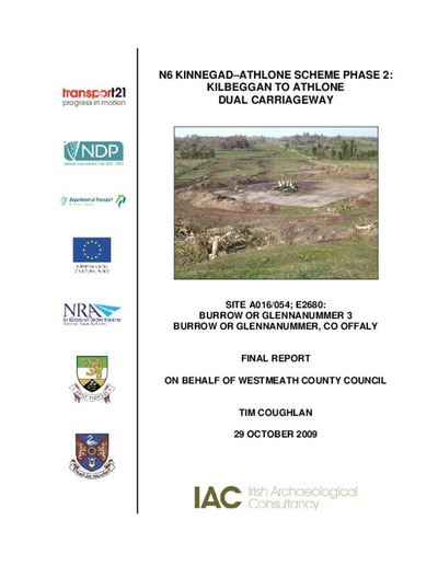 Archaeological excavation report,  E2680 Burrow or Glennanummer 3,  County Offaly.