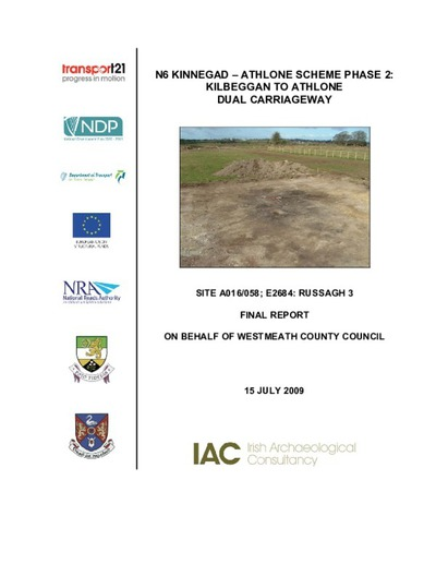 Archaeological excavation report,  E2684 Russagh 3,  County Offaly.