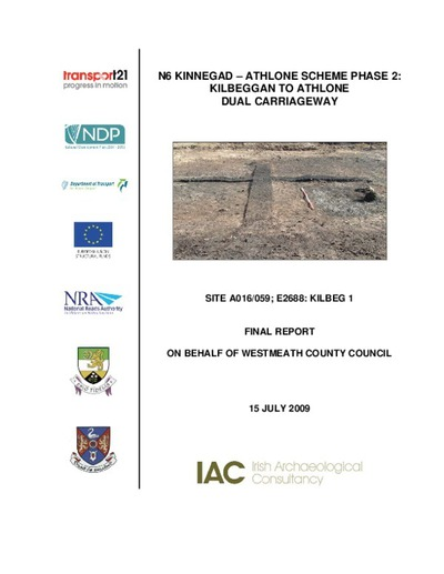 Archaeological excavation report,  E2688 Kilbeg 1,  County Westmeath.