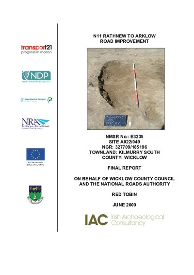 Archaeological excavation report,  E3235 Kilmurry South A022-049,  County Wicklow.