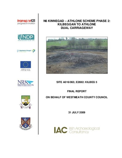 Archaeological excavation report,  E2692 Kilbeg 5,  County Westmeath.