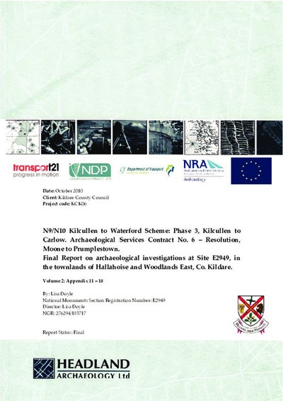 Archaeological excavation report,  E2949  Hallahoise VOL 2,  County Kildare