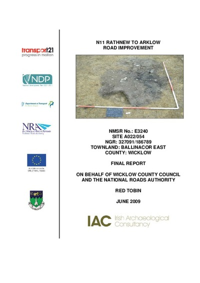Archaeological excavation report,  E3240 Ballinacor East A022-054,  County Wicklow.