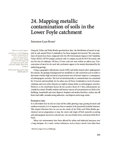 24. Mapping metallic contamination of soils in the Lower Foyle catchment