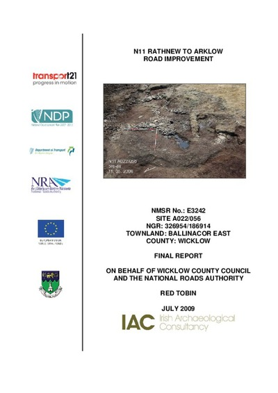 Archaeological excavation report,  E3242 Ballinacor East A022-056,  County Wicklow.