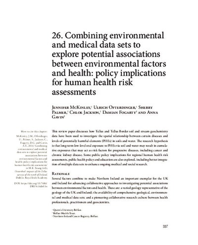 26. Combining environmental and medical data sets to explore potential associations between environmental factors and health: policy implications for human health risk assessments