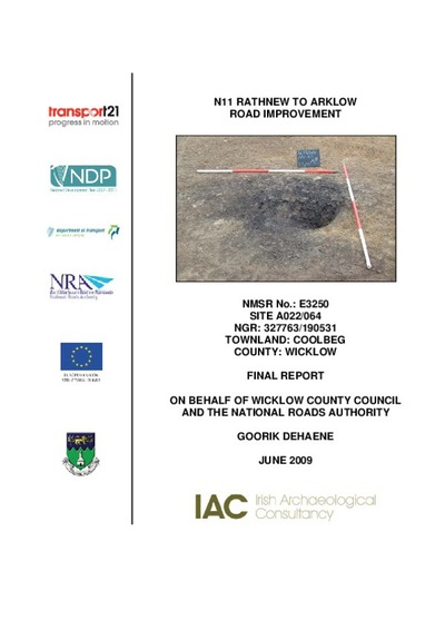 Archaeological excavation report,  E3250 Coolbeg A022-064,  County Wicklow.