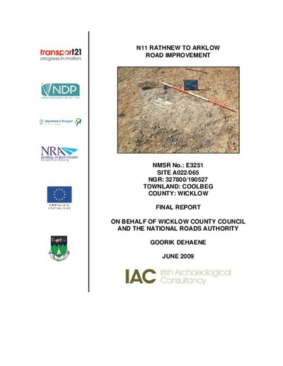 Archaeological excavation report,  E3251 Coolbeg A022-065,  County Wicklow.