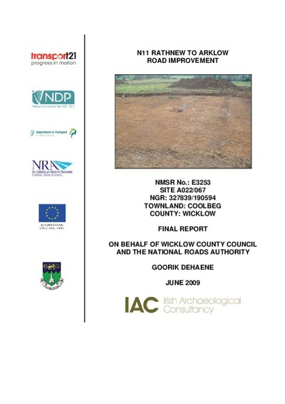 Archaeological excavation report,  E3253 Coolbeg A022-067,  County Wicklow.
