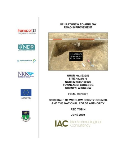 Archaeological excavation report,  E3259 Coolbeg A022-073,  County Wicklow.