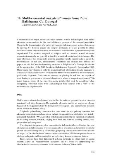 Multi-elemental analysis of human bone from Ballyhanna, Co. Donegal