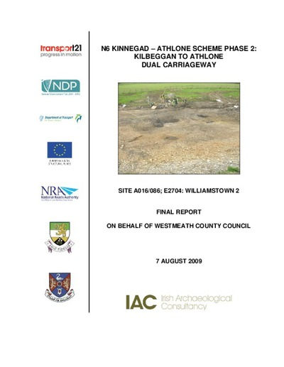 Archaeological excavation report,  E2704 Williamstown 2,  County Westmeath.