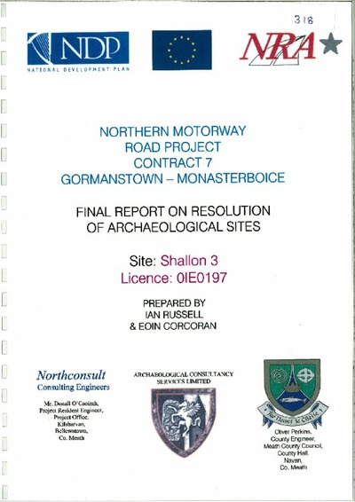 Archaeological excavation report, 01E0197 Shallon 3, County Meath.